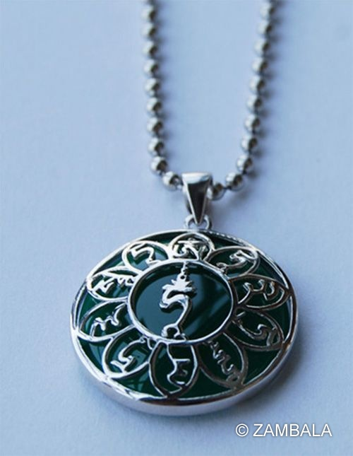 Green tara mantra 925 pure silver pendant oriental jewelry green tara mantra 925 pure silver pendant mozeypictures Gallery