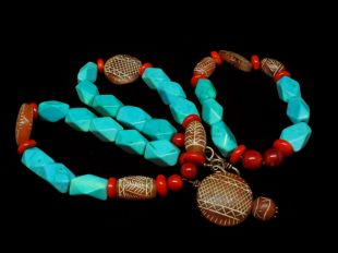 Turquoise/Coral Necklace set