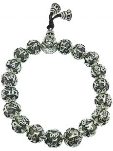 Sterling Silver Six-Character Great Bright Mantra beads hand mala 9mm
