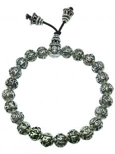 Sterling Silver Six-Character Great Bright Mantra beads hand mala 7mm